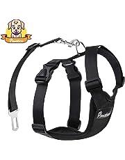 PAWABOO Dog Safety Vest Harness, Pet Dog Adjustable Car Safety Mesh Harness Travel Strap Vest with Car Seat Belt Lead Clip.
