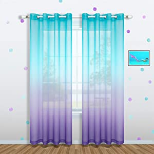 Lilac and Turquoise Curtains for Girls Room Decor Set 1 Panel Grommet Window Voile Sheer Drapes Purple Aqua Teal Ombre Curtains for Bedroom Girls Decorations Kids Mermaid Nursery 52 x 84 Inch Length
