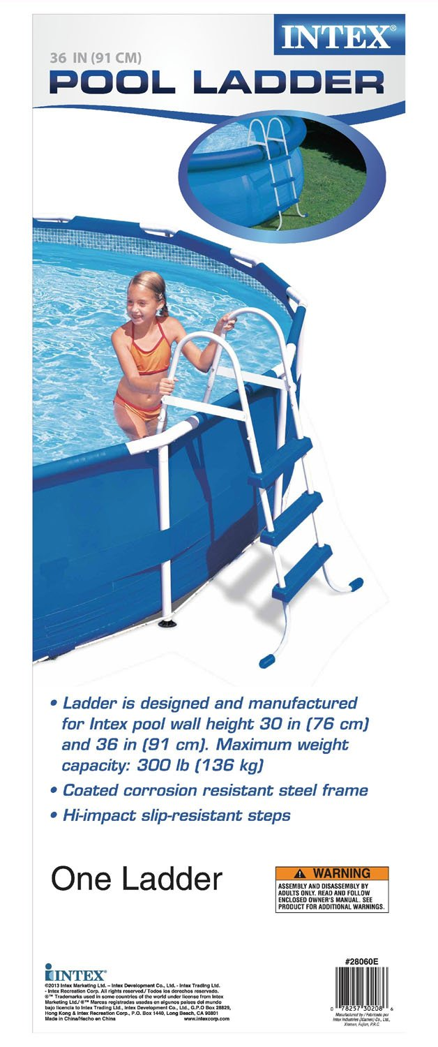 amazoncom intex pool ladder for 36inch wall height above ground pools swimming pool ladders garden u0026 outdoor