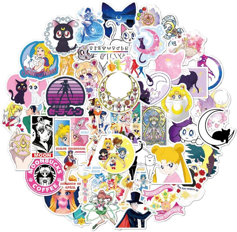 50 Pcs Cute Waterproof Sailor Moon Vinyl Stickers for Boys Girls Toddlers Kids Teens,Cartoon Stickers Decals Pack for Laptop Computer Xbox Water Bottle Cup Car Bike Flasks MacBook Bicyle Guitar.