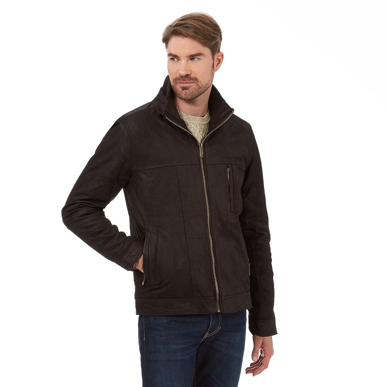 Barneys Mens Big And Tall Dark Brown Leather Harrington Jacket