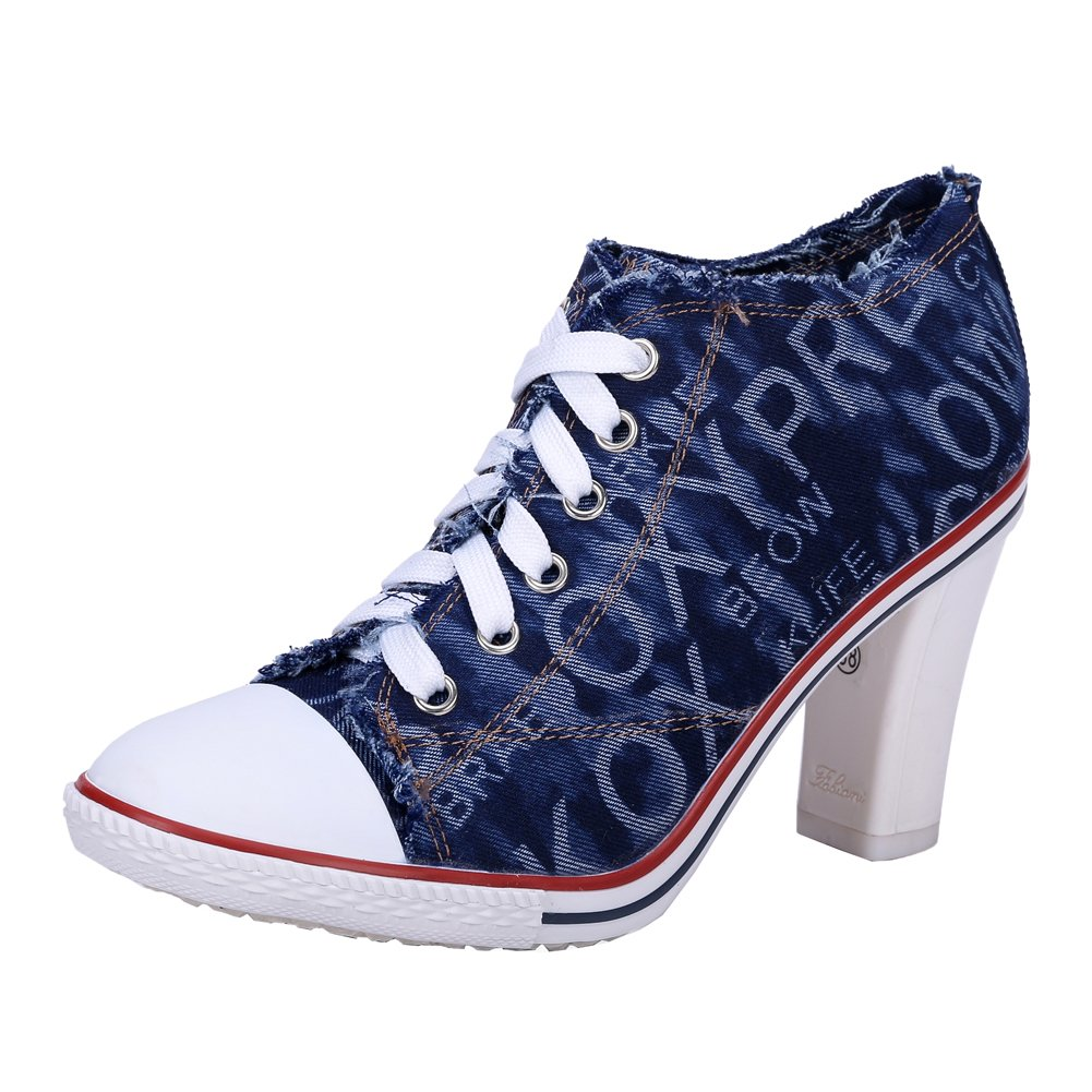 Women's Rivet Lace up High Heel Canvas Ankle Boots Fashion Sneakers (Stiletto + Chunky) B077S1GKXB Label 40 - US 8.5|C# Deep Blue - Chunky