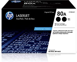 HP 80A | CF280AD1 | 2 Toner Cartridges | Black