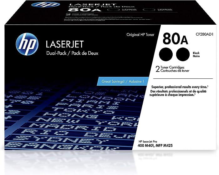 HP 80A | CF280AD1 | 2 Toner Cartridges | Black