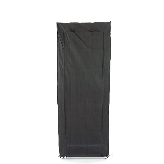 PrimeMatik Armario ropero y Zapatero de Tela Desmontable 60 x 30 x 160 cm Negro con Puerta Enrollable