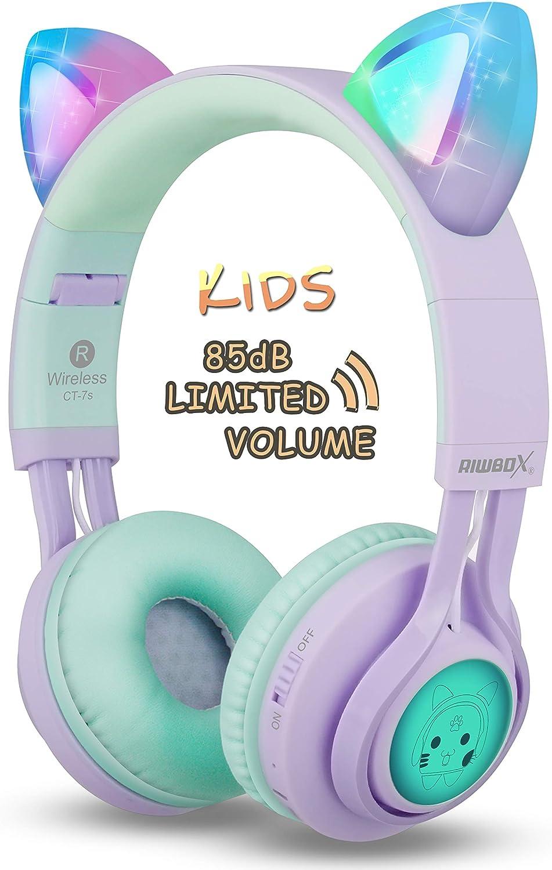 Riwbox CT-7S - Auriculares de diadema con Bluetooth para niños, 85 dB, con luz LED y micrófono para iPhone, iPad, portátil, PC, TV Púrpura&Verde