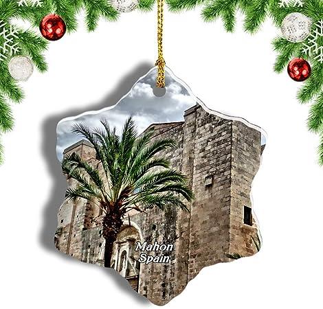 Weekino España Fortaleza De Isabel II Mahon Decoración de Navidad Árbol de Navidad Adorno Colgante Ciudad Viaje Porcelana Colección de Recuerdos 3 Pulgadas: Amazon.es: Hogar