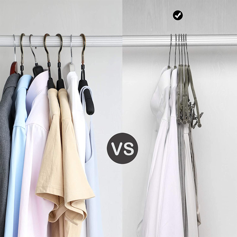 Ideal para Trajes Abrigos Faldas Pantalones Tirantes Longitud De 42,5 cm SONGMICS Perchas de Terciopelo Set de 12 Blanco CRF012W01 para Adultos con Pinzas Gancho Giratorio a 360/º