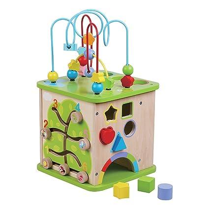 Jumini - Cubo de juguete de madera para niños, tamaño grande