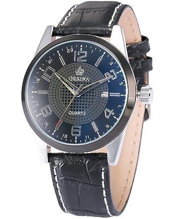 Orkina Fashion Mens Black Dial Leather Date Sport Quartz Wrist Watch Gift ORK054