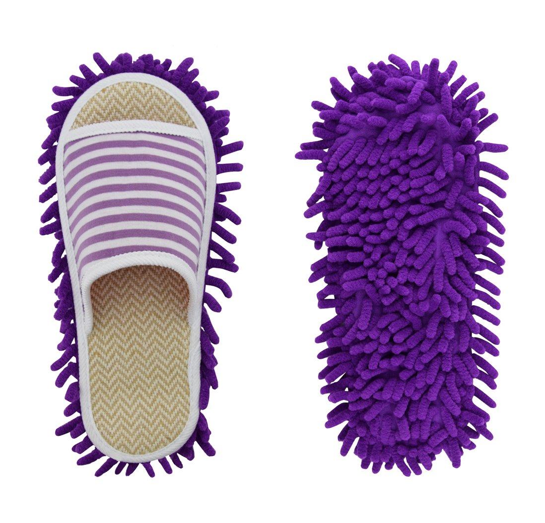 Xunlong Ciniglia Scarpe Pantofola Genie In Microfibra Mop Per La Pulizia Del Pavimento Strumento Per La Pulizia Della Polvere Pantofole Da Donna (Stripes nero, EU 37-41) Stripes Viola
