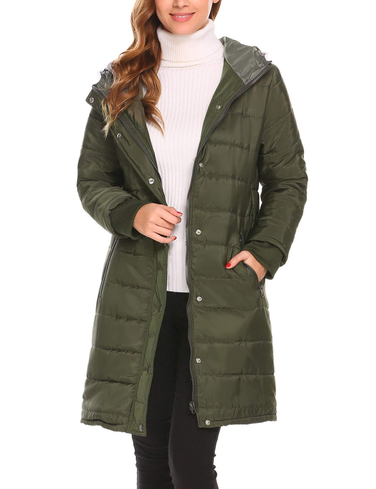 Misakia Women's Lightweight Packable Down Jacket Outwear Puffer Down Coats(Army Green L)