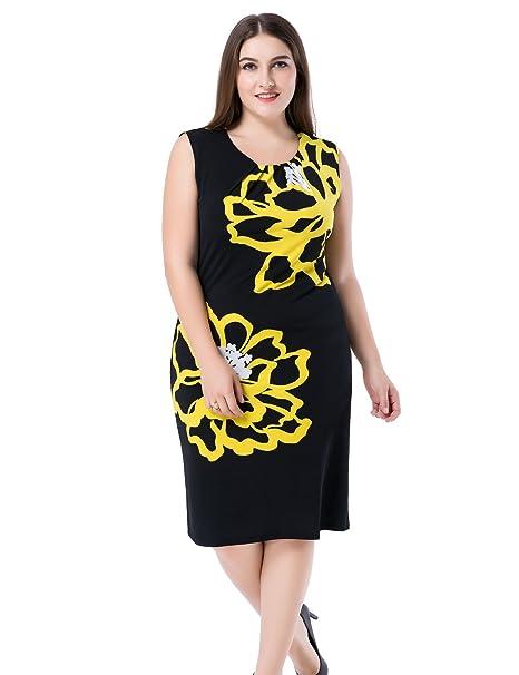 Chicwe Mujeres Tallas Grandes Vestido Forrado Estampado Floral Sin Manga - Vestido Casual en Oficina con