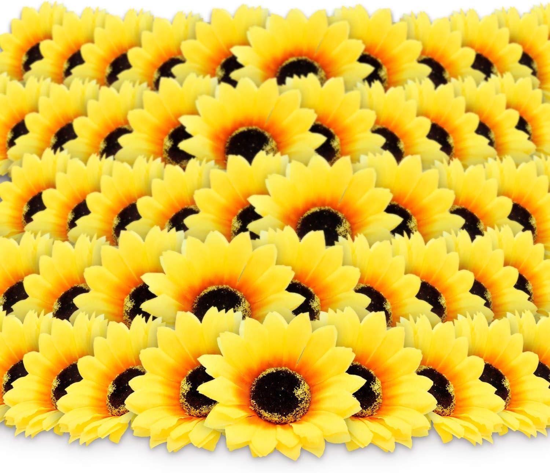 "100pcs 3"" Artificial Silk Sunflower Heads Yellow Fabric Floral for Home Party Decoration Wedding Decor, Bride Holding Flowers Centerpieces Wreath Garden Craft DIY Art Decor Classroom Crafts Decor"