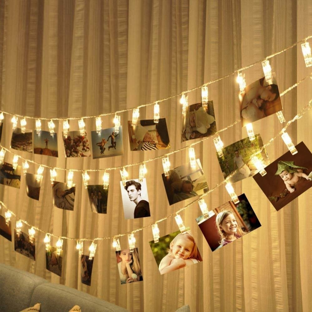 2M 20 LED Wire String Lights with Photo Clip Battery Powered Christmas Lights Wedding Party Window Home Decoration Lights For Hanging Photos (Warm White)