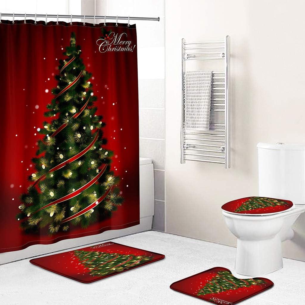 Merry Christmas Shower Curtain Sets for Bathroom, 4 Pcs Xmas Shower Curtain/ Non-Slip Bathroom Rugs/ Lid Toilet Cover/ Bath Mat, Funny Santa Claus Christmas Tree Elk Snowman Carpet Decor (D)