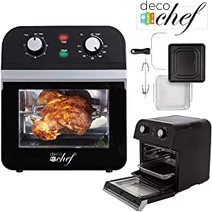 Deco Chef XL 12.7 QT Oil Free Air Fryer Multi-Function High Capacity Countertop Convection Oven, Toaster, Dehydrator, Roaster & Rotisserie All-in-One Healthy Kitchen Oven