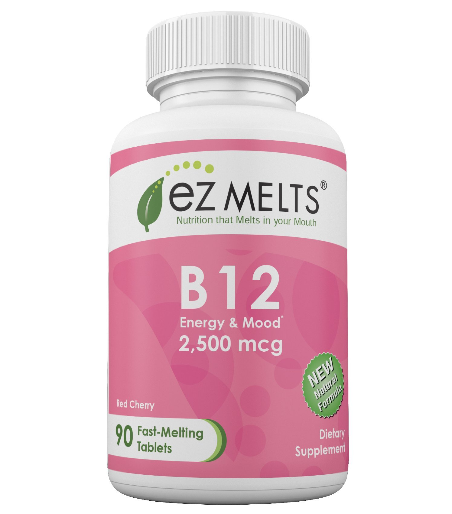 EZ Melts B12, 2,500 mcg, Dissolvable Vitamins, Vegan, Zero Sugar, Natural Cherry Flavor, 90 Fast Melting Tablets, Vitamin B12 Supplement