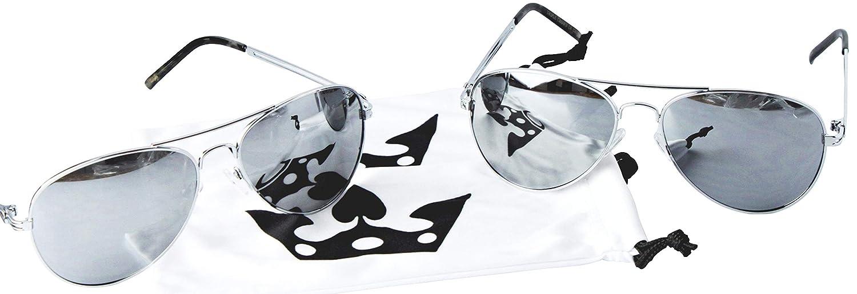 8fe2cd5e2 Amazon.com: T011-cp Triple Crown Metal Aviator Pilot Sunglasses (2-pack  Silver-mirrored, mirrored): Clothing