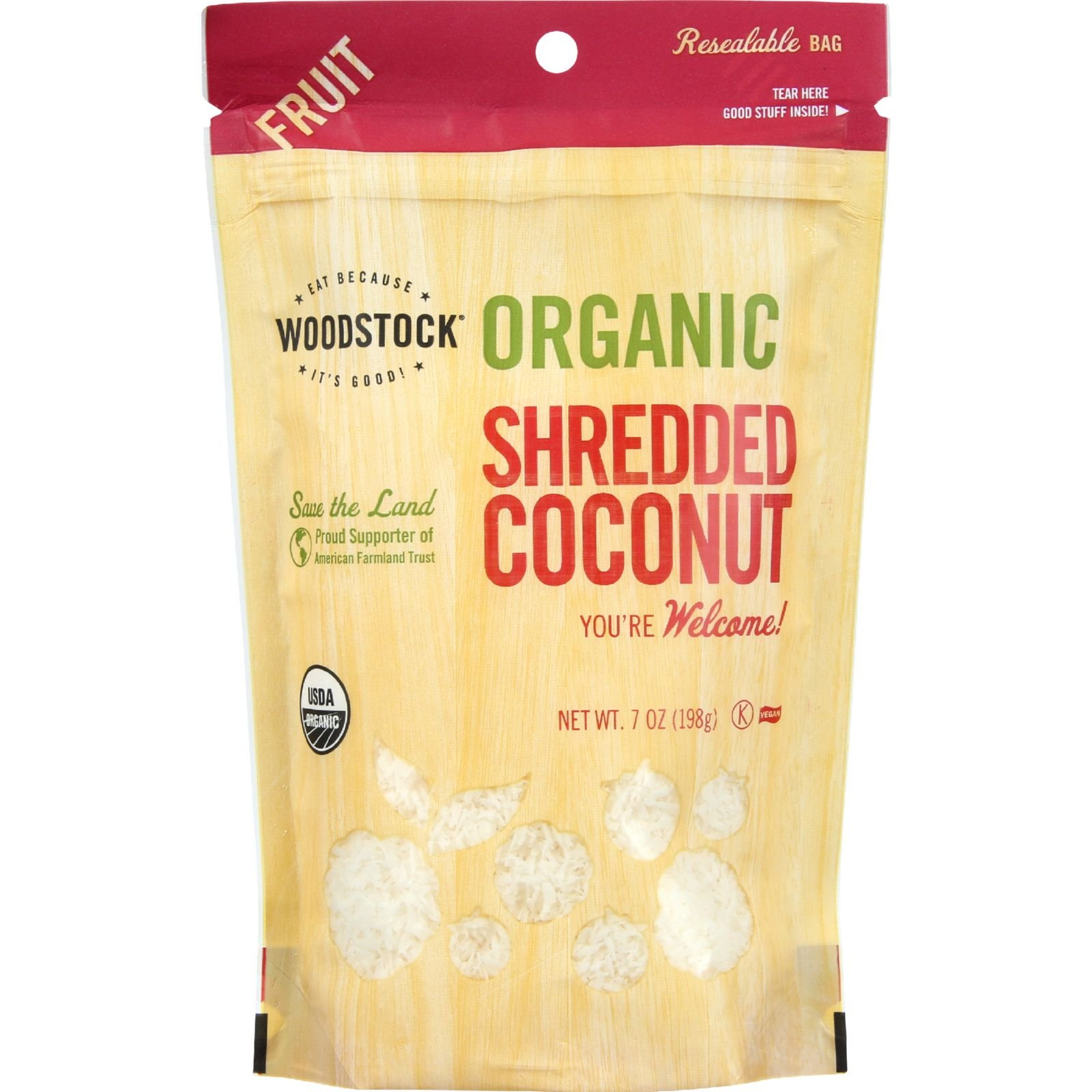 Woodstock Fruit - Organic - Coconut - Shredded - Raw - 7 oz - case of 8 - 95%+ Organic - Vegan
