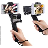 Stabilizing Hand Grip for GoPro Hero 5, 4, 3+, 3 with Dual Mount, Tripod Adapter and Universal Phone Holder - Record Videos with 2 Different Camera Angles Simultaneously, Steady Shot Photography, Selfies