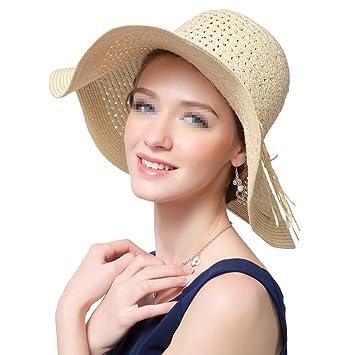 625f4e276a1 Butterme Women s Fashion Stylish Summer Beach Tropical Custom Straw Hat  Floppy Wide Large Brim Sun Cap Hats (Beige)  Amazon.co.uk  Sports   Outdoors