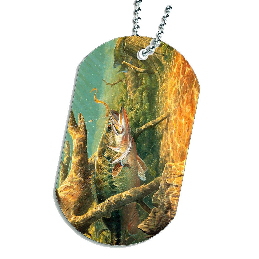 Bass Fish Fishing Dog Tag Necklace Keychain