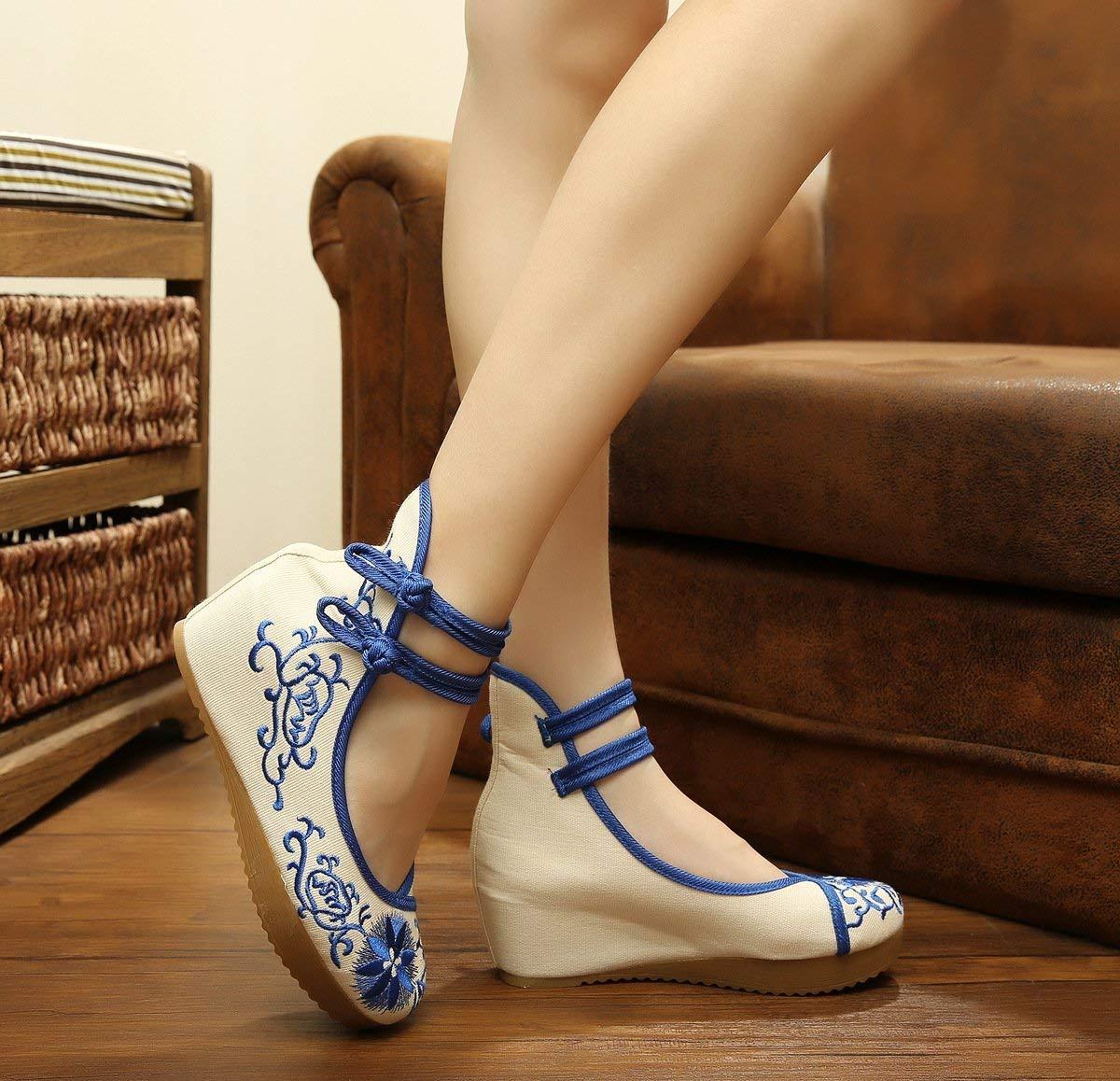 Fuxitoggo Bestickte Schuhe Leinen Sehnensohle Ethno-Stil Erhöhte Damenschuhe Mode bequem bequem bequem lässig blau 41 (Farbe   - Größe   -) 6a0f1a