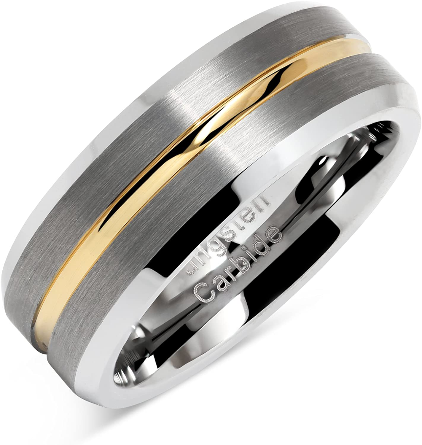 It is a picture of 41S JEWELRY Tungsten Rings for Men Two Tone Silver Wedding Bands Gold Grooved Matte Finish Size 41-141