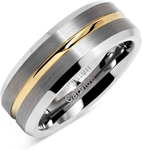 100s Jewelry Tungsten Rings For Men Two Tone Silver Wedding Bands