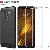 Kit 1 Capa E 2 Películas Para Xiaomi Pocophone F1 - Capinha Anti Impacto Fibra De Carbono E Películas De Vidro Temperado - Danet