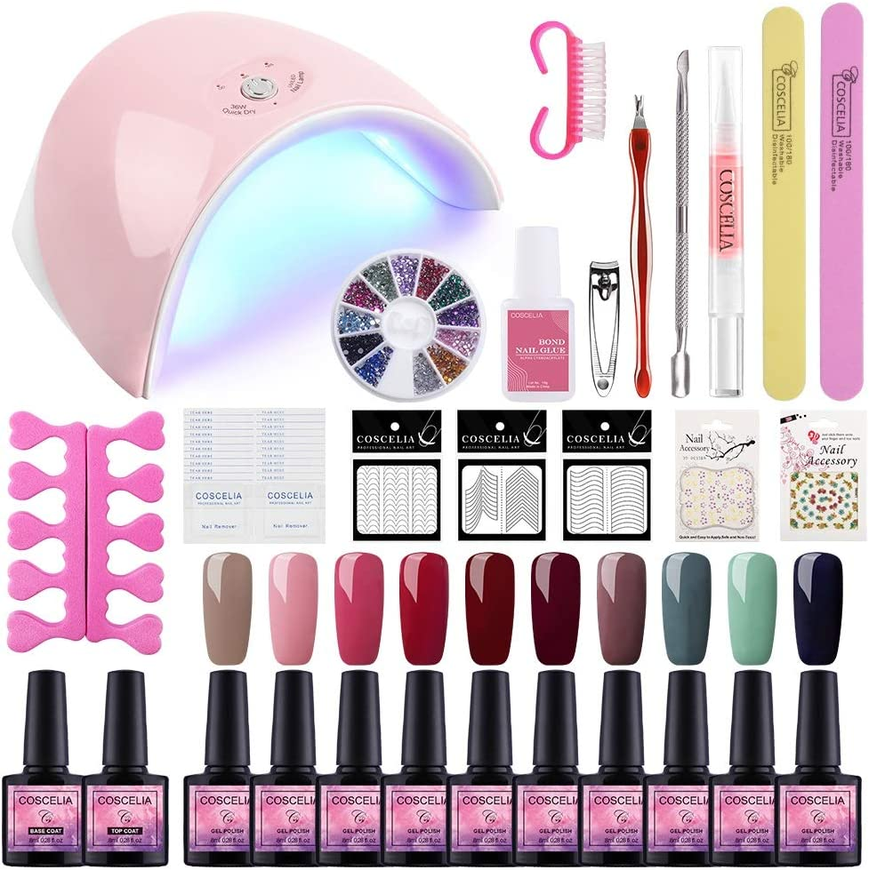 Saint-Acior Esmaltes Semipermanentes de Uñas en Gel Kit Unas en Gel de 10pcs Soak off 8ml 36W UV/LED Lámpara Uñas Secador de Uñas Kit Uñas de Gel Capa Base Capa Superior Kit para Manicura Pedicura