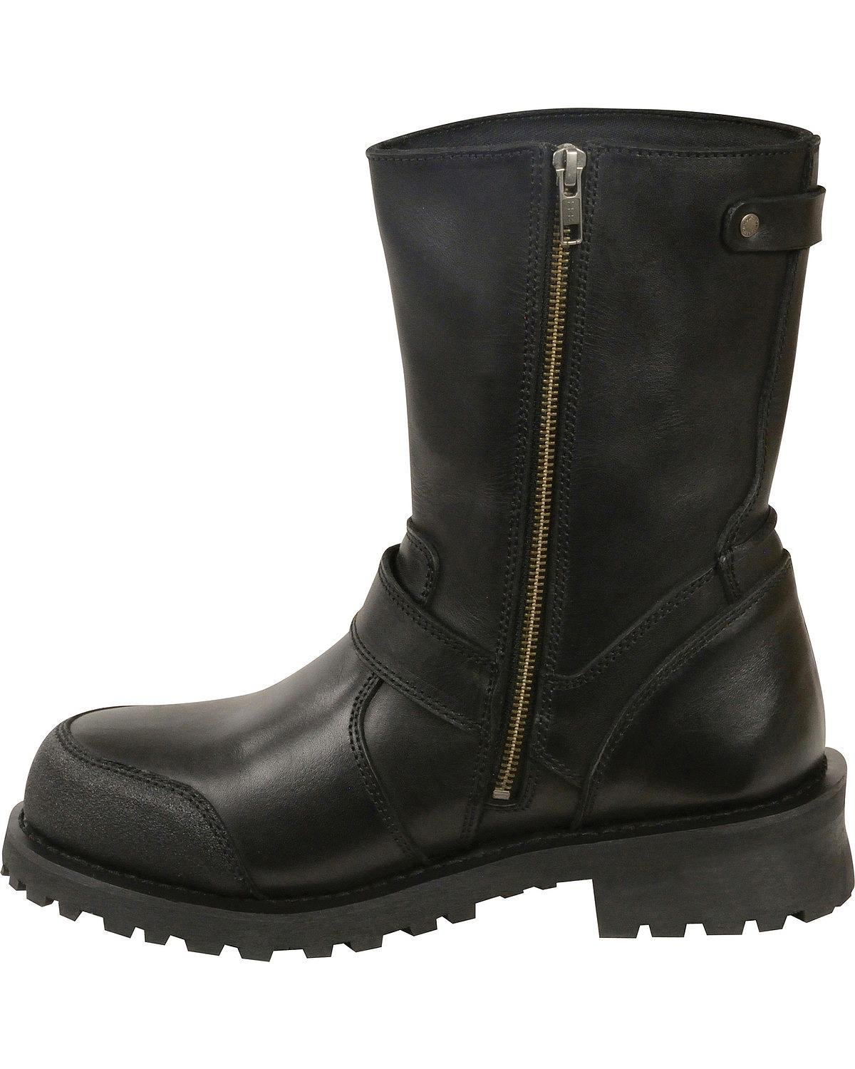 Milwaukee Leather Mens Classic Engineer Boot Round Toe Black 7