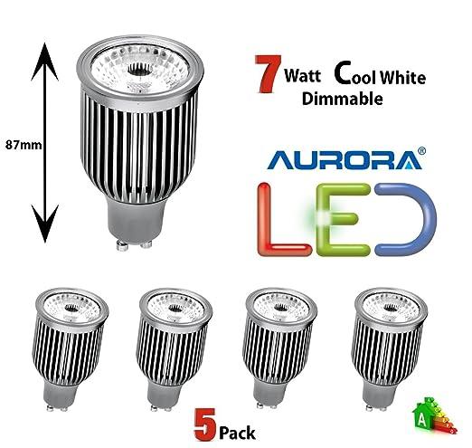 Pack de 5 bombillas LED AURORA de larga duración, GU10 de 7 W de alto