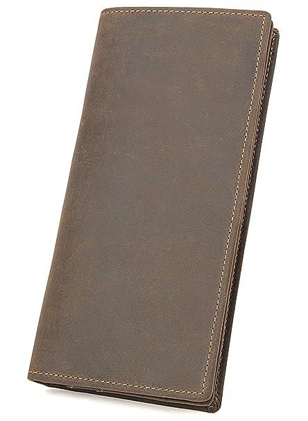 Men/'s RFID Block Genuine Leather ID Window Zip Pocket Bifold Long Clutch Wallet