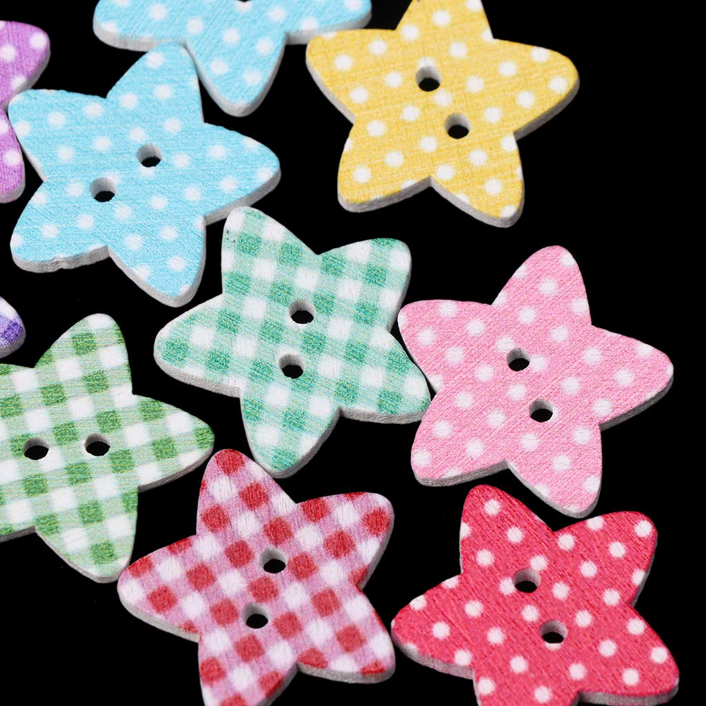follwer0 25mm Estrella Puntos cuadr/ícula 2 Agujeros Madera Botones Colorido DIY Costura Scrapbooking 50pcs