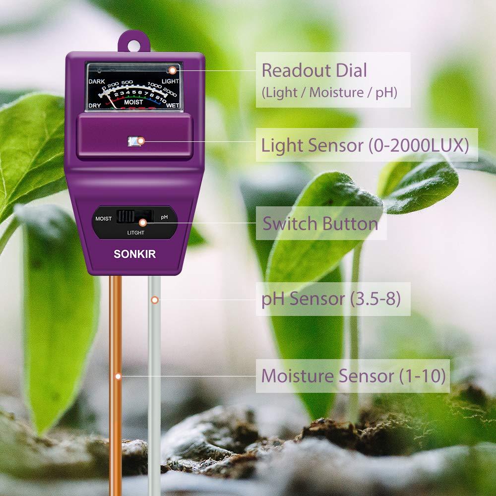 Great for Garden 3-in-1 Soil Moisture//Light//pH Tester Gardening Tool Kits for Plant Care Farm Indoor /& Outdoor Use Sonkir Soil pH Meter MSO2 Soil pH Meter Lawn Soil Tester