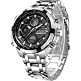 GOLDEN HOUR Luxury Stainless Steel Analog Digital Watches for Men Male Outdoor Sport Waterproof Big Heavy Wristwatch
