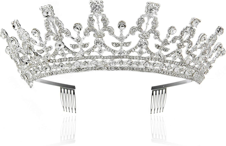 R/éelle Couronne de Roi pour Adulte Cristal Prince Diad/ème Bijoux pour Homme Cheveux Accessoires WolinTek Couronne de Roi pour Adulte