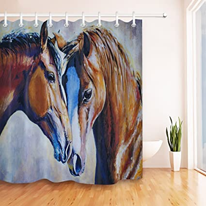 LB Animal Couple Brown Horses Shower Curtain Set Farm Field Domestic Equestrian Bathroom Polyester Fabric
