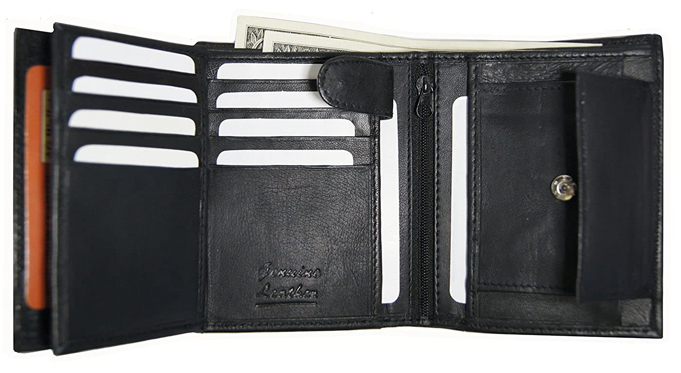 Top Product Wallets European Black Leather Trifold Wallet-3 ID,8 CC Slots,Change Pocket