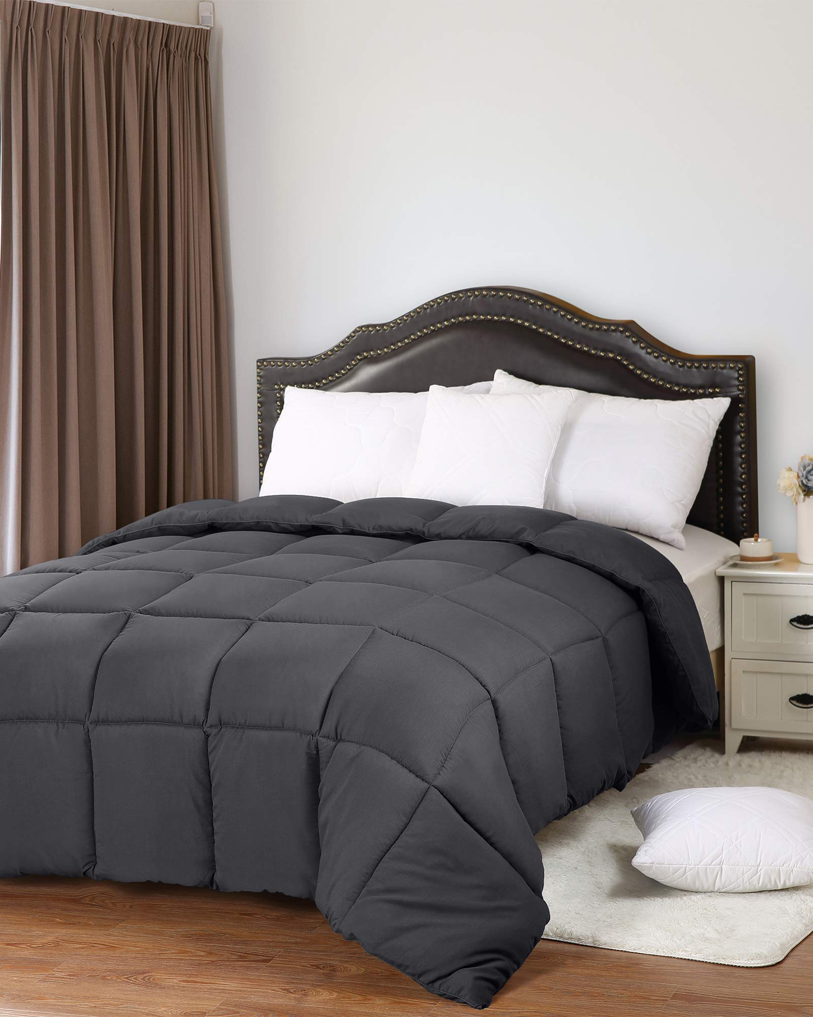 Utopia Bedding All Season 250 GSM Comforter - Soft Down Alternative Comforter - Plush Siliconized Fiberfill Duvet Insert - Box Stitched (Full/Queen, Grey) by Utopia Bedding (Image #2)
