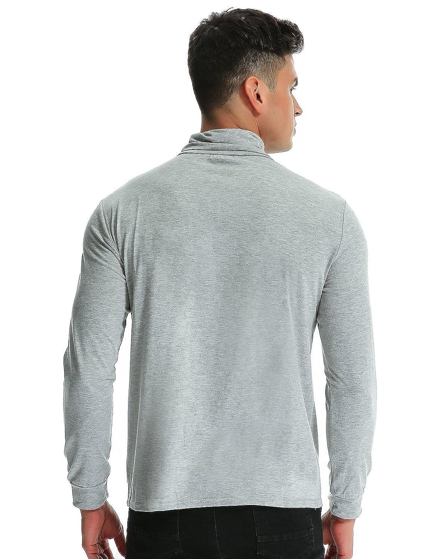 c978d7f78e6d8 MODCHOK Hombre Camiseta de Manga Larga T-Shirt Cuello Alto Top tee ...