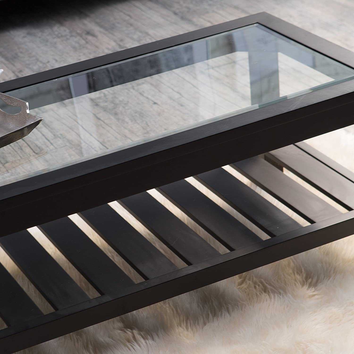 Amazon Sutton Glass Top Coffee Table with Slat Bottom