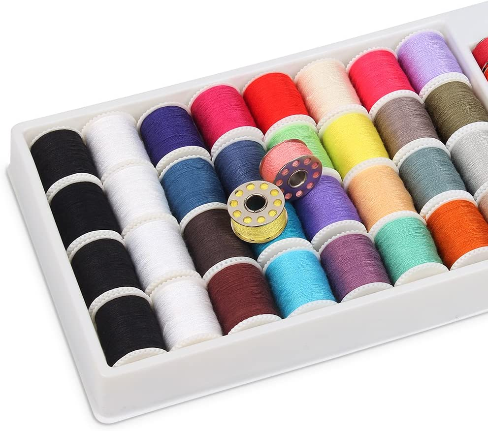 QUARKACE Mini Sewing Machine Thread 60 Pieces Sewing Thread Kit Including Threaded Bobbins and Spools Mixed Colors Machine Thread
