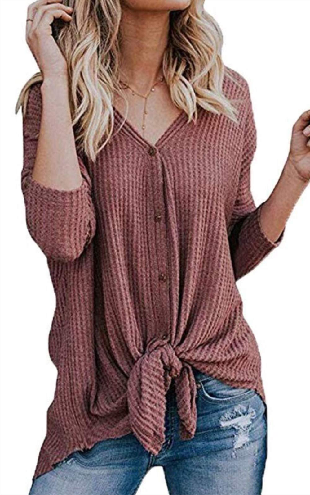 elescat Womens Sweaters Knited Cardigan Long Sleeve Tops Knot Henley Shirts V Neck Blouses (M,WineRed)