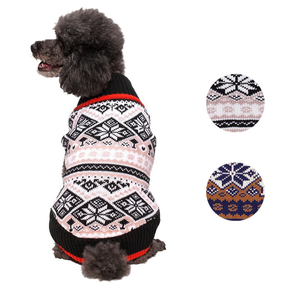 Blueberry Pet 2 Patterns Nordic Pattern Inspired Fair Isle Black and White Snowflakes Dog Sweater, Back Length 14'', Pack of 1 Clothes for Dogs