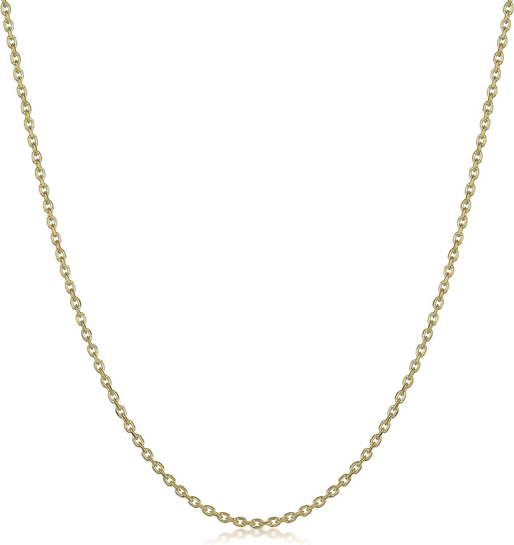 Maille For/çat Largeur 1.3 mm Amberta/® Bijoux Collier Plaqu/é Or 18K Cha/îne Argent 925//1000 Longueur 40 45 50 55 60 70 cm
