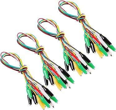 5 pezzi da 100cm Morsetti a coccodrillo elettrici con fili di prova,morsetti a coccodrillo a doppia clip,cavo di prova isolato,5 colori