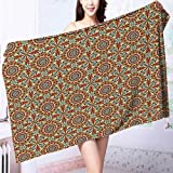100% Premium Quality Bath Towel Morroccan Oriental Style Walkway Old Islamic Building Architecture Carving Soft & Absorbent L55.1 x W27.5 INCH